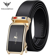 WilliamPolo full grain leather Brand Belt Men Top Quality Genuine Luxury Leather Belts for Men Strap Male Metal Automatic Buckle
