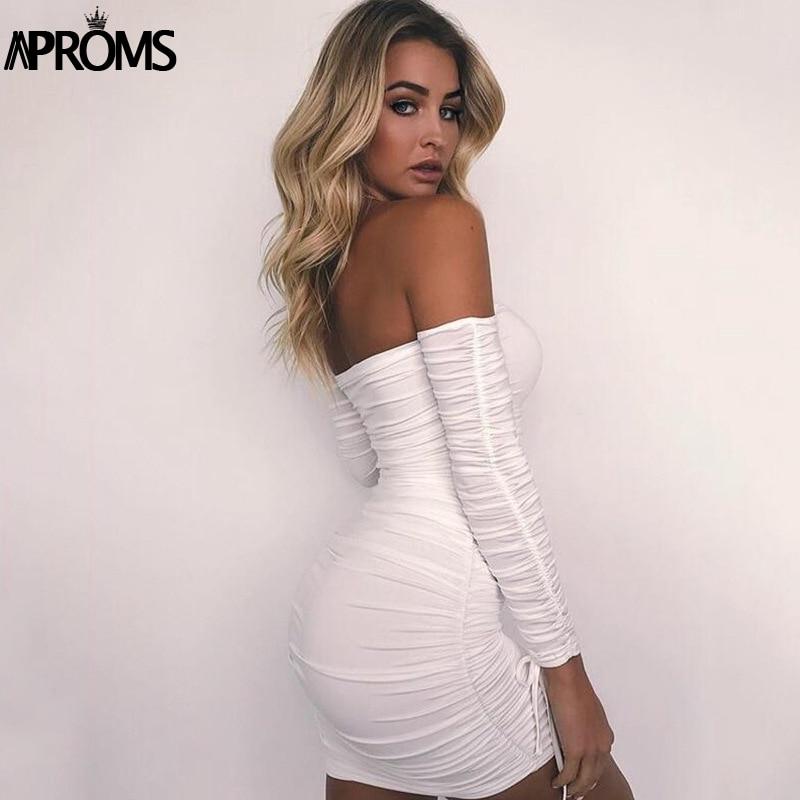 Aproms Black Ruched Pleated Short Dress 2020 Winter Club Women Sheath Bodycon Dresses Sexy Off Shoulder Mini Dress Vestidos 2