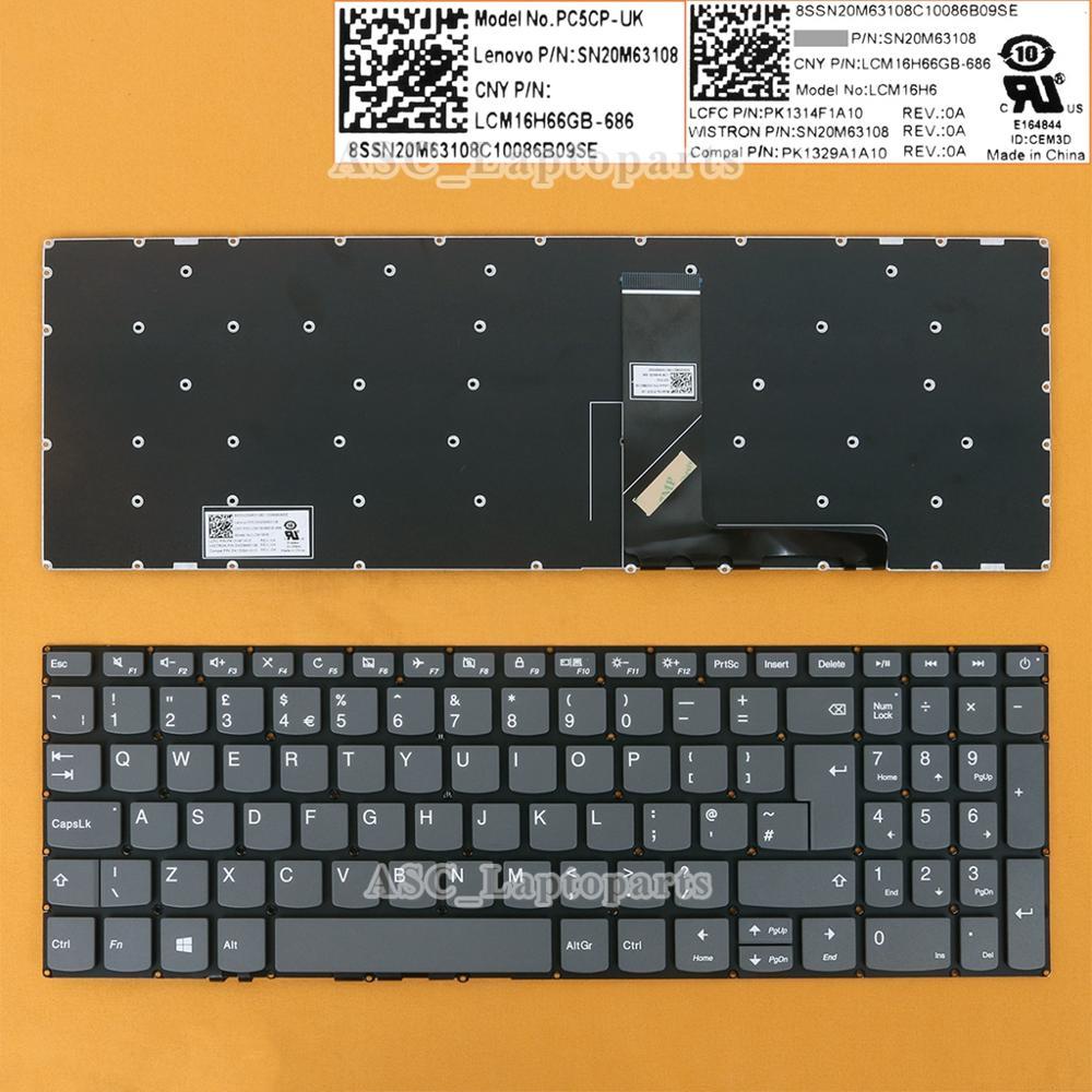 Новый Великобритании Английский QWERTY клавиатура для ноутбука Lenovo IdeaPad L340-15API L340-15IWL L340-15IRH L340-15IRH L340-17API L340-17IRH серого цвета