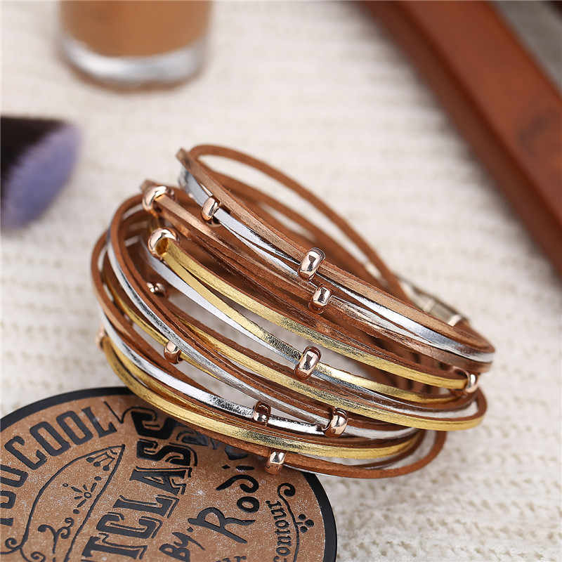17KM אופנה רב שכבתי עור צמיד לנשים גבר בציר זהב רסיס זוג ידידות צמידים & צמידי מתנה תכשיטים