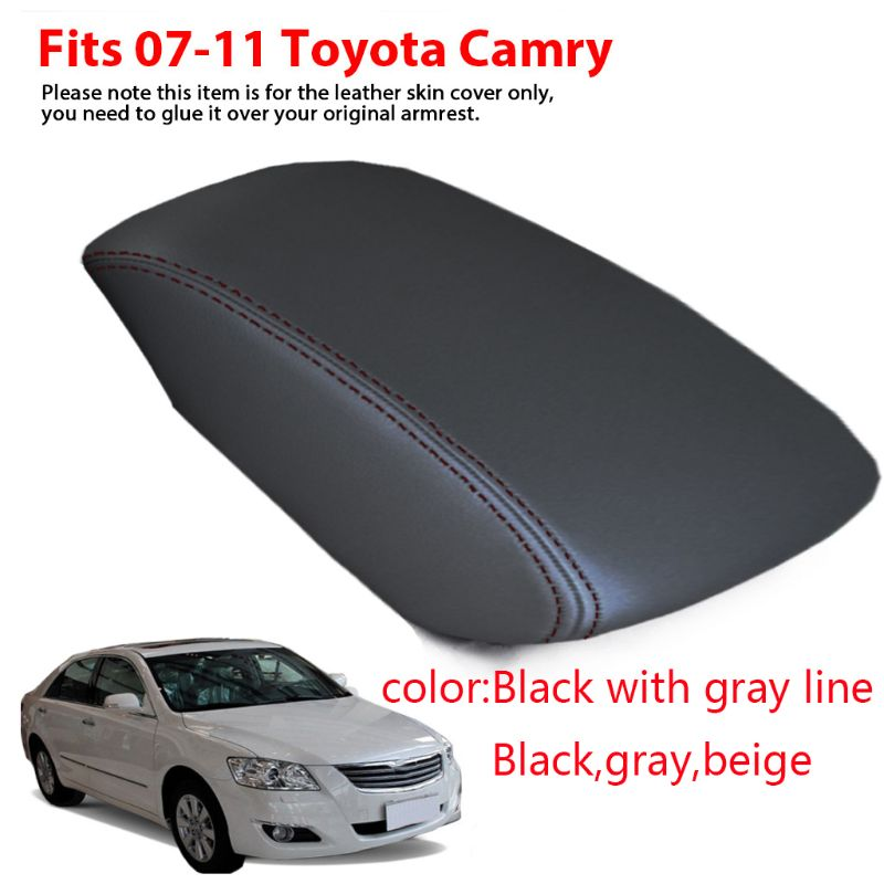 Toyota Camry Center Armrest Cover Faux Leather for 07-11 Gray