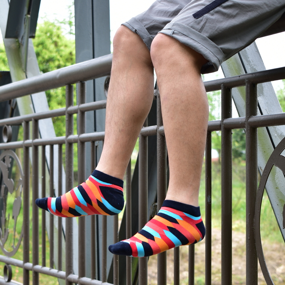 2020 Socks Men's Latest Design Boat Socks Short Summer Socks Quality Business Geometric Lattice Colorful Mens Cotton Socks