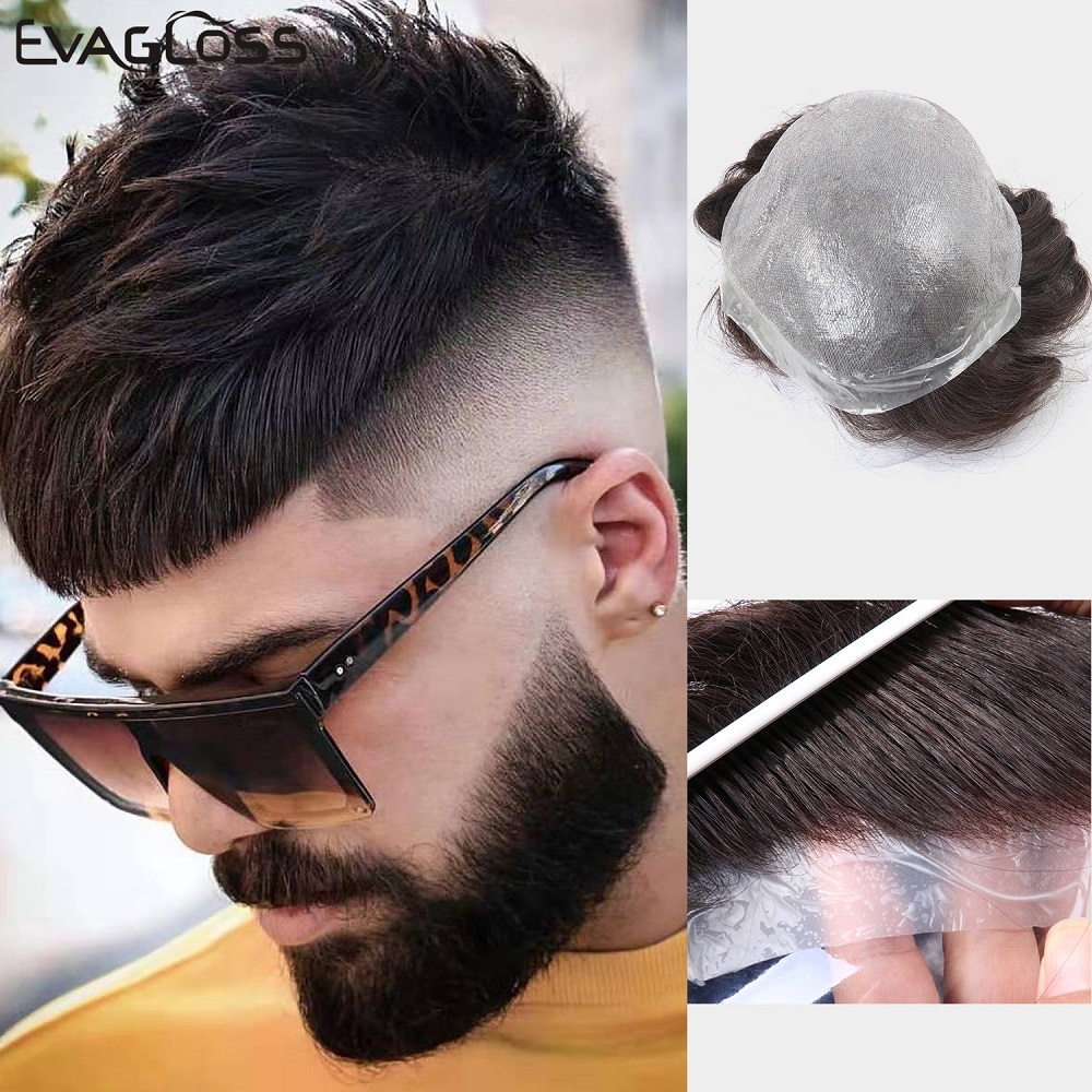 EVAGLOSS Men's Wig 0.02-0.04mm Super Thin Remy Human Hair Mens Toupee Hair System Replacement For Men Hair Wig Free Shipping