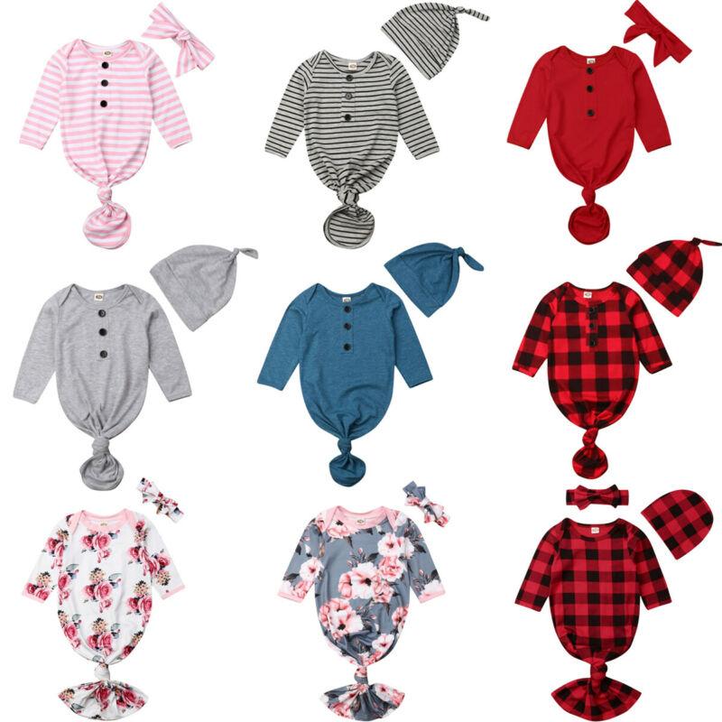 Newborn Baby Boy Girl Striped Red Plaid Christmas Sleeping Bag Sleep Wrap +Headband Set Cotton Soft Swaddle Muslin Blanket 0-12M