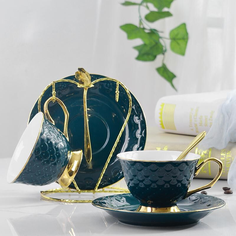 British style new ceramic coffee cup and saucer set European coffee cup dish set home Nordic style afternoon tea flower tea cup
