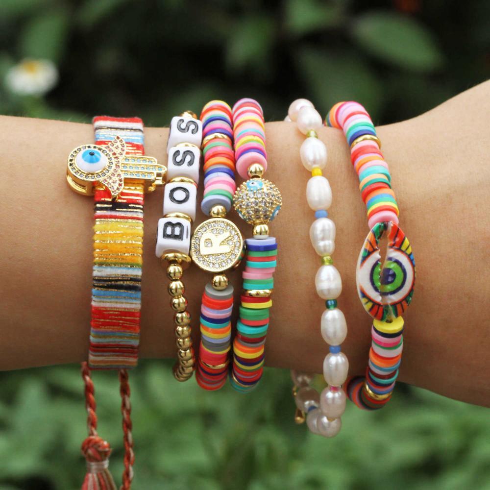 New Handmade Boho Bracelet Femme Candy Color Polymer Clay Elastic Charm Bracelet For Women Jewelry Wristband pulseras mujer girl