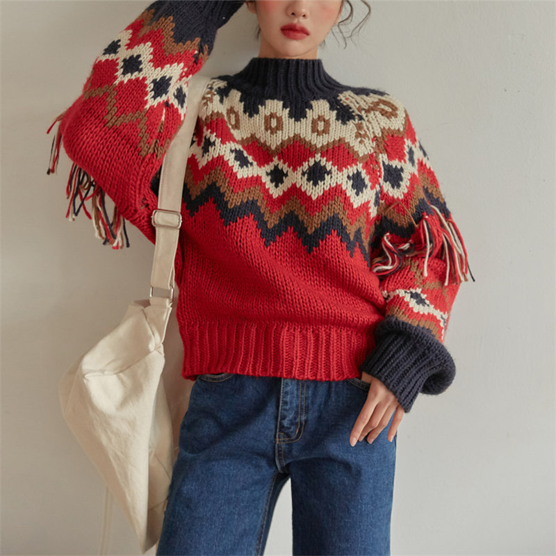 Alien Kitty National Style Tassel Color-Hit Sweet Chci Gentle Soft All Match 2020 Streetwear High Quality Women Warm Sweaters