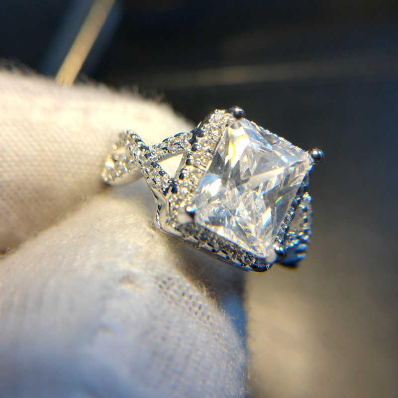 Mewah 2.5ct 925 Sterling Cincin Perak untuk Wanita Hadiah Perhiasan Fashion Square Desain Pengantin Zirkon Cincin Bijoux