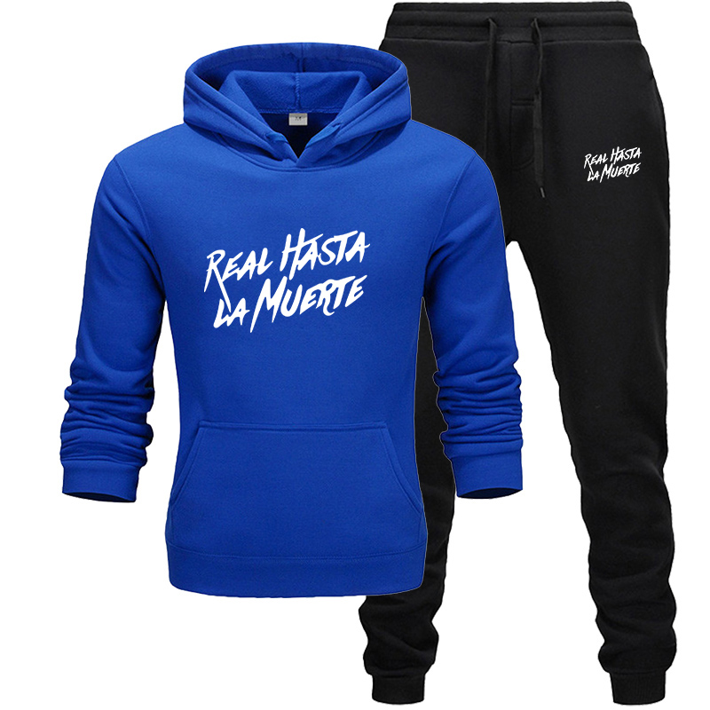 Real Hasta La Muerte Two Pieces Set Fashion Pullover Men Tracksuit Hoodie Autumn Men Brand Print Hoodie+Pants Sets Ropa Hombre