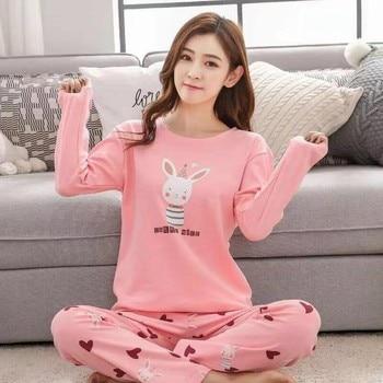 Autumn Pyjamas Women Sleepwear Carton Cute Pijama Pattern Pajamas Set Thin Pijamas Mujer Sleepwear Homewear Suit 90S fresh leaf pyjamas women 2020 autumn fall stitch pijamas set 100