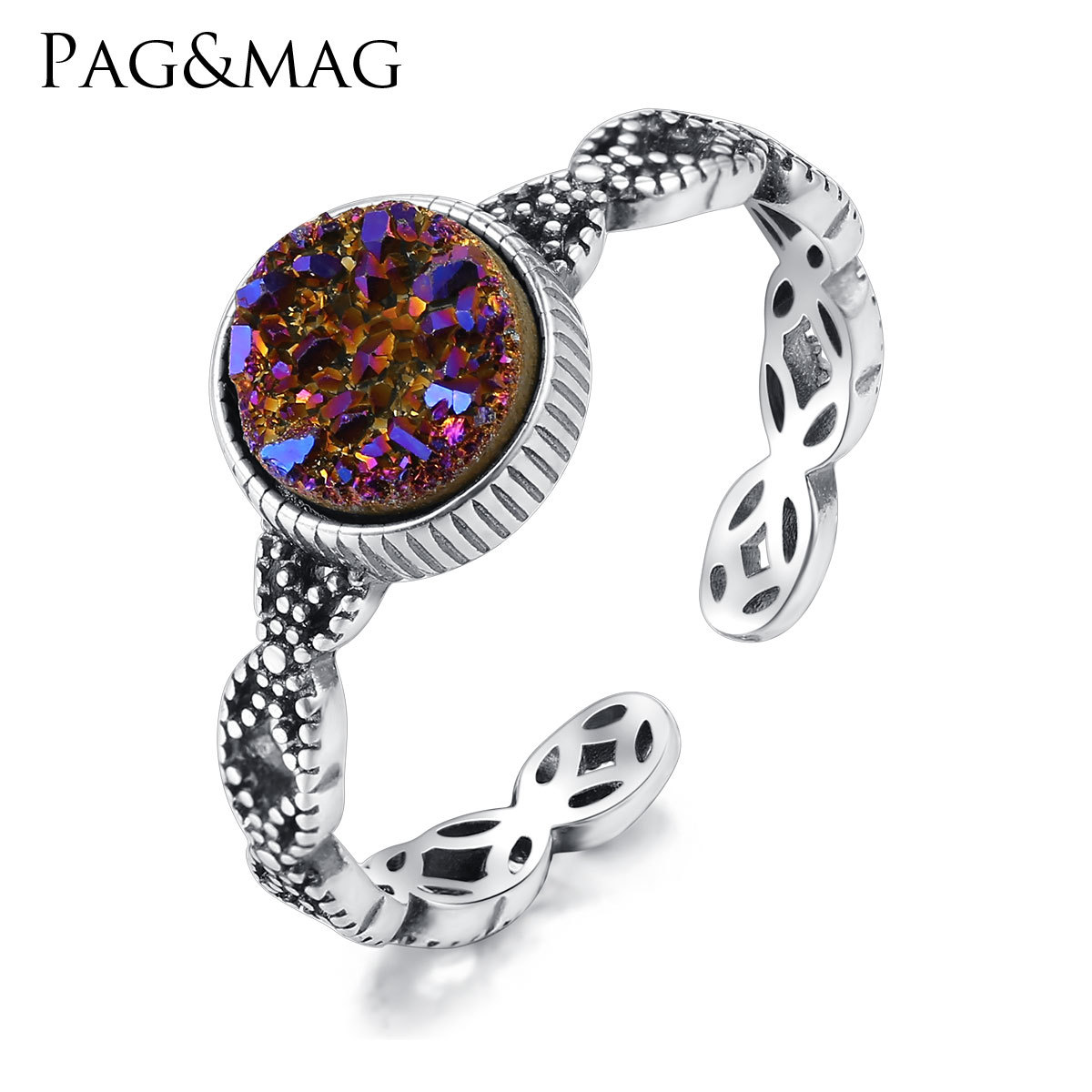 PAG&MAG New European and American Style S925 Sterling Silver marcasite Ring Female rock crystal Female Ring(China)
