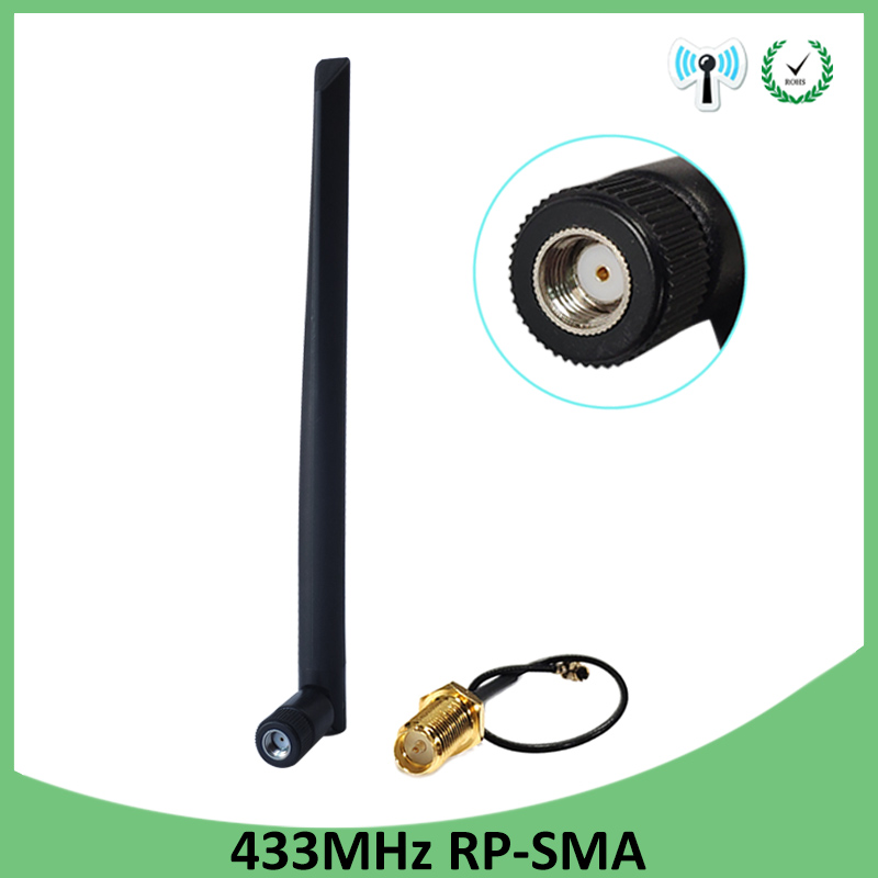 2pcs 433Mhz Antenna 5dbi GSM 433 Mhz RP-SMA Connector Rubber Lorawan Antenna+ IPX To SMA Male Extension Cord Pigtail Cable