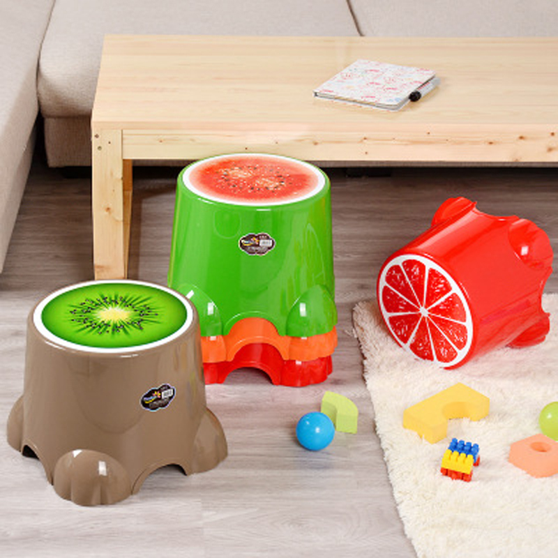 Lovely Cartoon Stools Fruits Small Stool Children Cute Plastic Round Stool Baby Shower Room Changing Shoes Stool