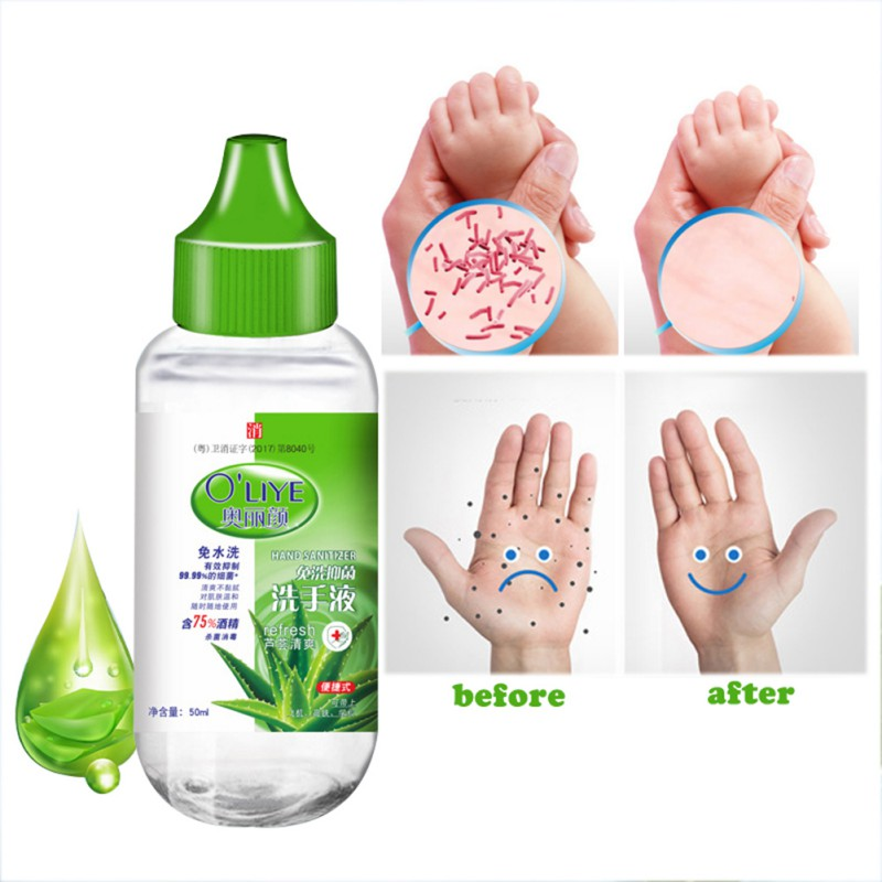 50ml Travel Portable Mini Hand Sanitizer Gel Anti-Bacteria Moisturizing Hands-Free Water Disinfection Hand Sanitizer No Clean