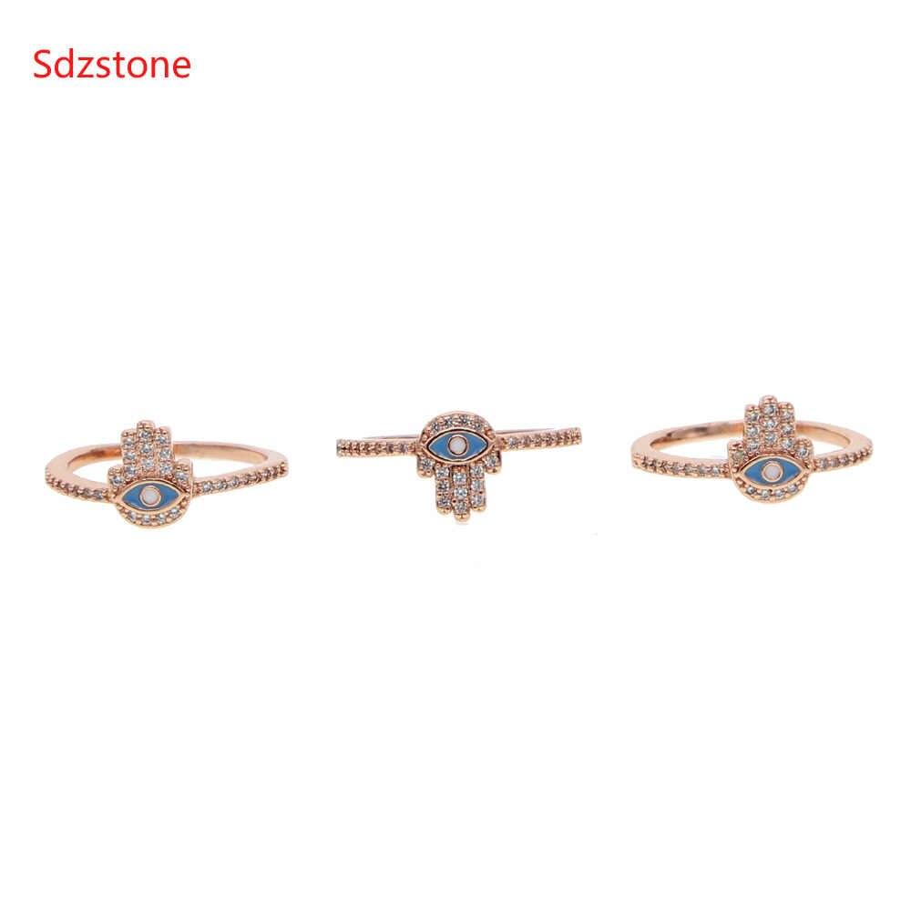 Blue Enamel Evil Eye Cubic Zirconia Hamsa แหวนผู้หญิงผู้หญิงเครื่องประดับ Rose Gold สีแหวน Bague