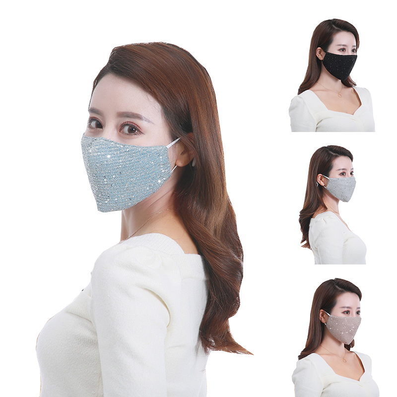 1pcs Women PM2.5 Dust Proof Mask Fashion Reusable Ice Silk Mouth Mask Breathable Summer Sequin Anti Pollution Washable Mask