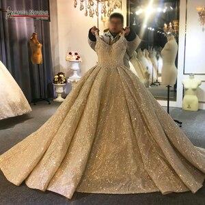 Image 1 - 2020 יוקרה ואגלי חתונת שמלת רצועות אמיתי עבודה סדר מותאם אישית
