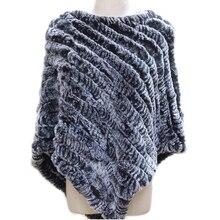 Women Genuine Real fur shawl Knitted Rabbit Fur Poncho Wrap scarves female natural rabbit fur Shawl triangle Cape pashmina