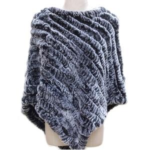 Image 1 - Women Genuine Real fur shawl Knitted Rabbit Fur Poncho Wrap scarves female natural rabbit fur Shawl triangle Cape pashmina