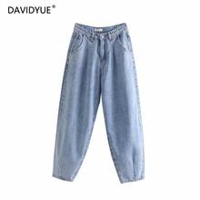 2020 wysokiej talii dżinsy luźne damskie plisowane spodnie z kieszenią luźne dżinsy dla mamy dżinsy dla mamy feminina vintage damskie dżinsy typu boyfriend tanie tanio davidyue Kostki długości spodnie COTTON Zipper fly Mieszkanie blue loose boyfriend jeans for women Wysoka Stałe Denim