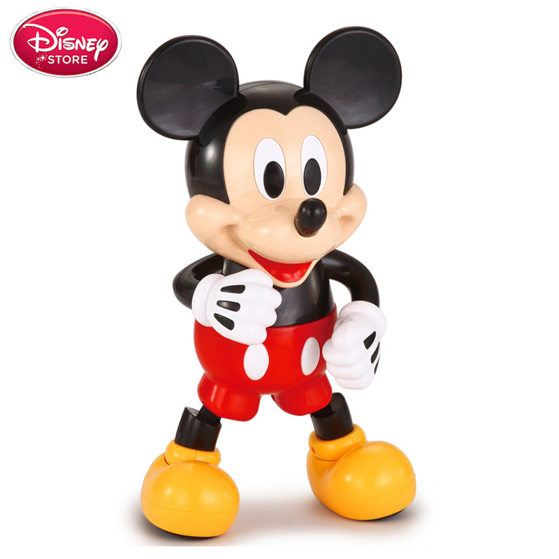 Disney Swing Dancing Mickey Mouse Children Baby Electric Light Dancing Doll Toys Model Disney Minnie Action Figures