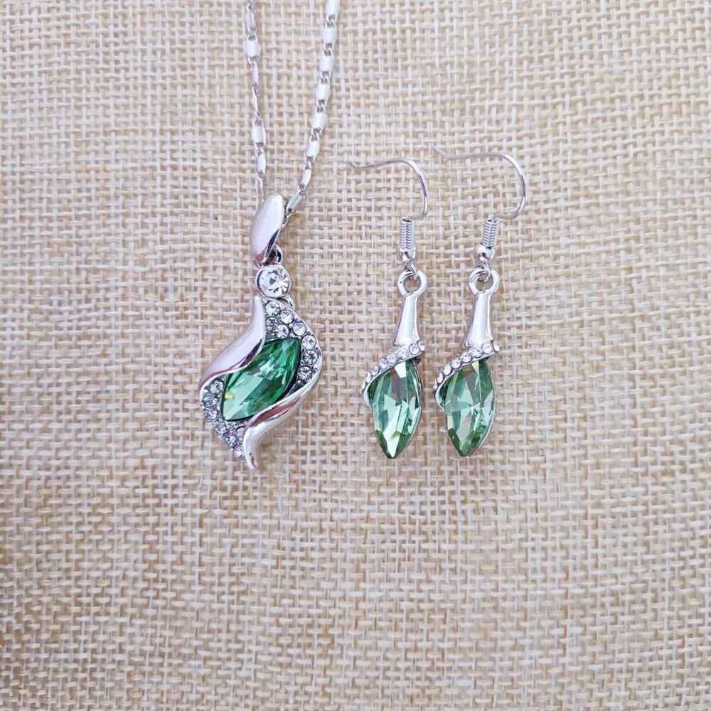925 srebro naszyjnik kolczyki prezent, ślub kobiet biżuteria ustaw Fine jewelry Austria kryształowy owoc zielony wisiorek
