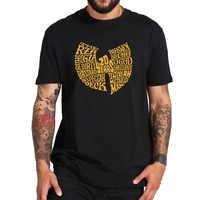 Wu Tang Clan Camiseta Hop Logotipo da Banda Design Criativo UE Tamanho 100% Algodão de Manga Curta Crewneck Tops Simples Macio camisa