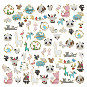 Julie Wang 20PCS Enamel Animal Charms Random Mixed Cat Bird Unicorn Squirrel Gold Tone Alloy Pendent Jewelry Making Accessory