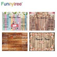 Funnytree casamento fotografia pano de fundo primavera casamento amor flor de madeira fundo personalizado photo studio photozone vinil photocall