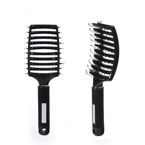 Manufacturers Direct Selling Bristle Big Curved Comb Hair Dressing Salon Only Comb Silicone Handle Easy Grip Comb Currently Avai(China)