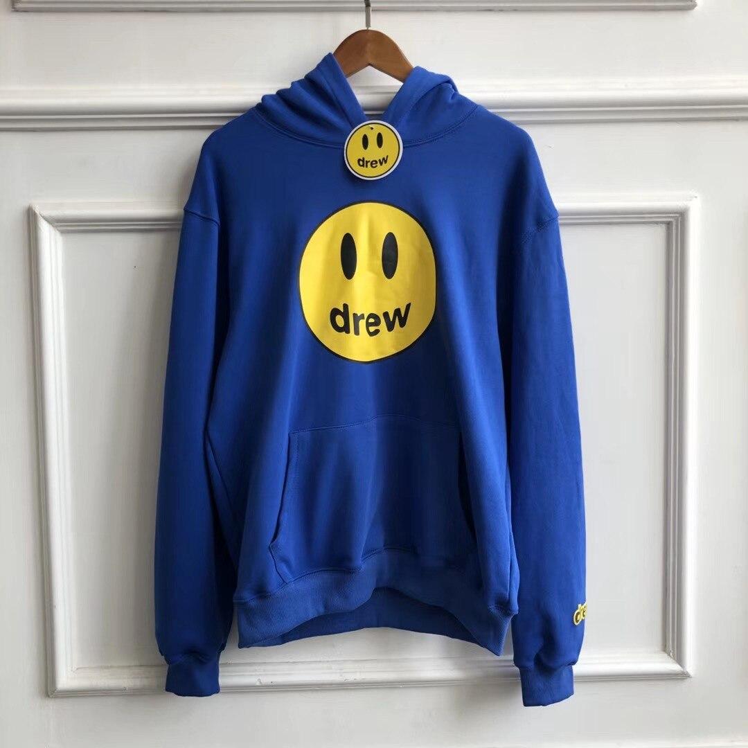 19FW Drew House nowy kolor niebieskie bluzy mężczyźni kobiety pary Drew uśmiech twarz drukowane Justin Bieber bluzy z kapturem mężczyzn