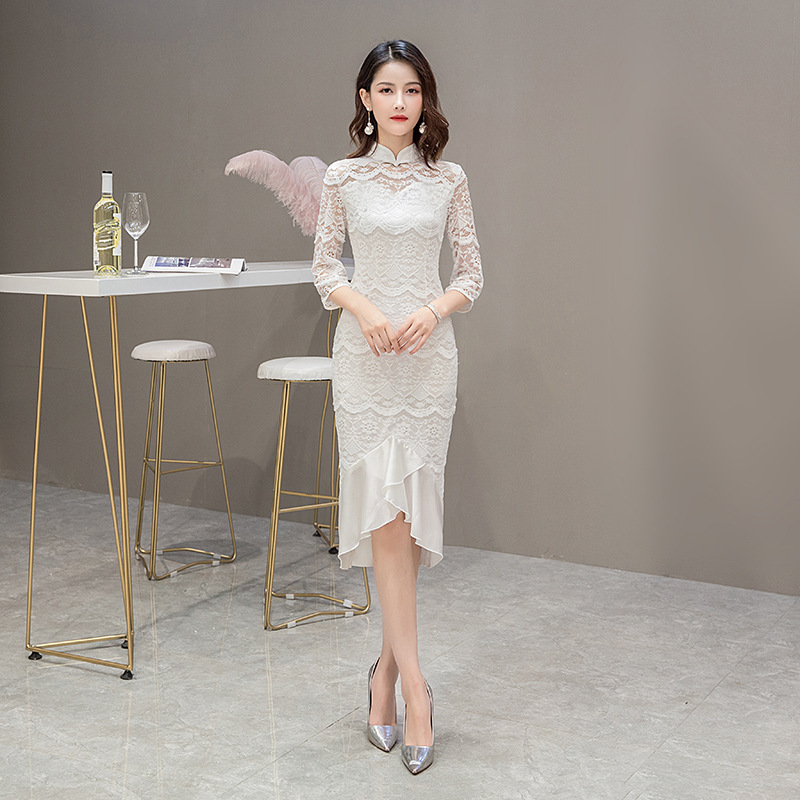 White Lace Embroidery Vintage Ladies Chinese Traditional Slim Qipao Classic Mandarin Collar Stage Show Elegant Female Cheongsam