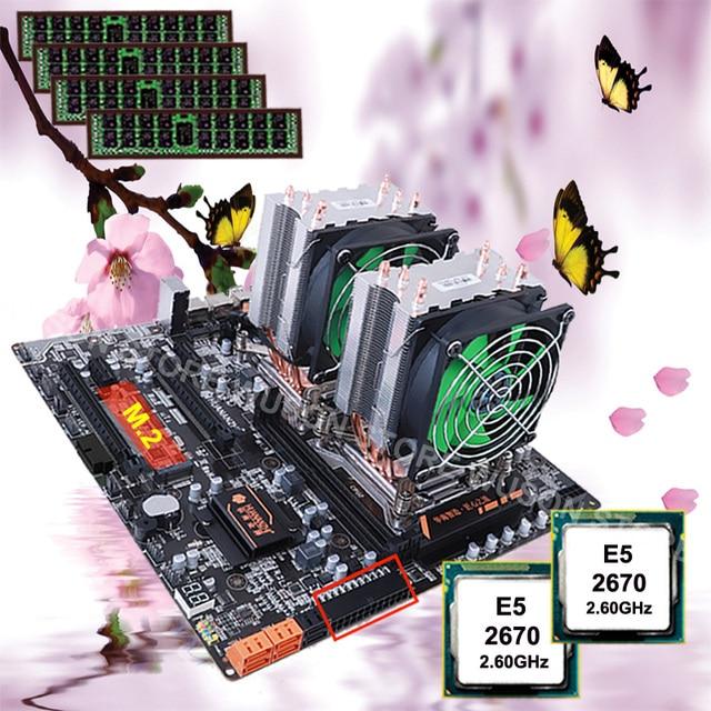 마더 보드 콤보 HUANANZHI 듀얼 CPU X79 데스크탑 마더 보드 듀얼 CPU 인텔 제온 E5 2670 C2 2.6GHz 쿨러 32G RAM REG ECC