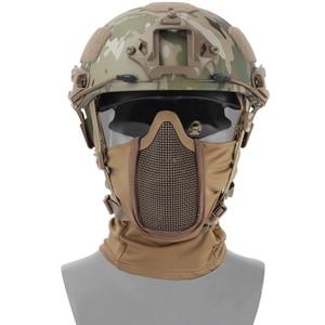 Image 2 - Hooded Bivakmuts Tactical Masker Helmen Steel Mesh Volledige Geconfronteerd Hals Beschermende Jacht Gel Blaster Airsoft Paintabll Accessoires
