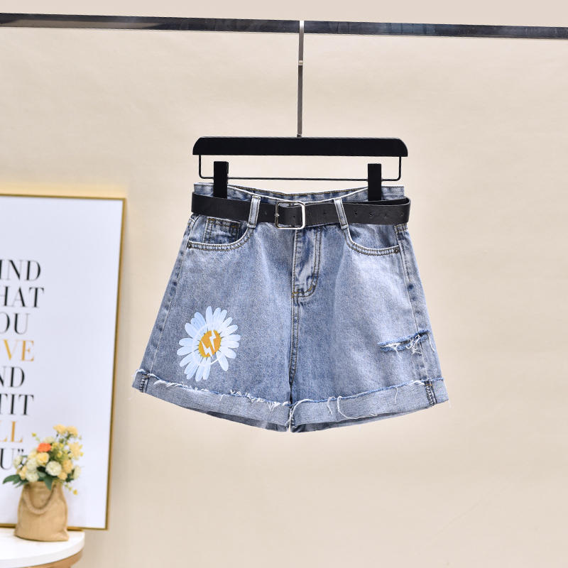 2020 New Printed Denim Shorts Pant Jean Women Wide Leg Summer Blue Women Highwaisted Jeans Plus Size Short Femme 1