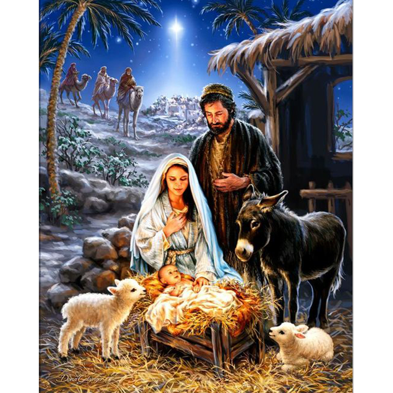 5D Character Pattern DIY Diamond Painting Jesus and Sheep Full Mosaic Drill Wall
