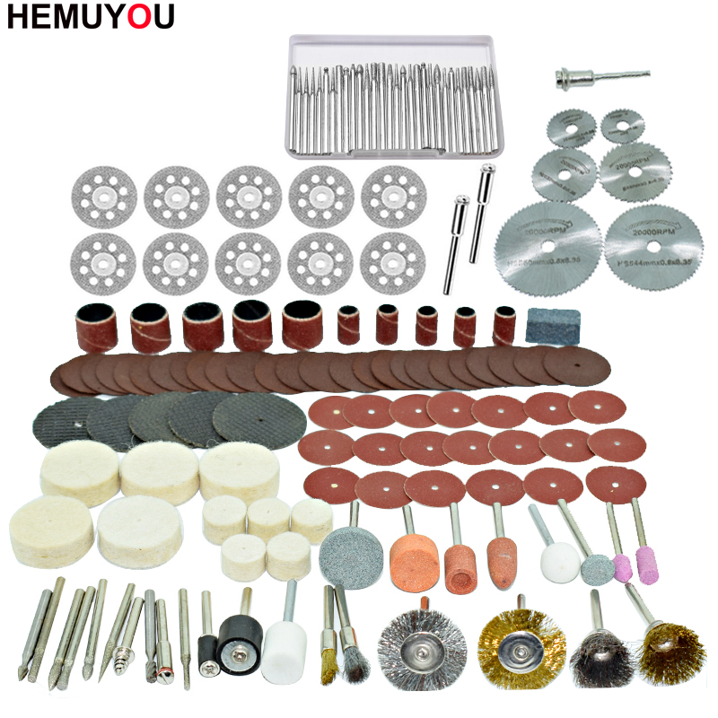 100pcs/ Engraver Abrasive Tools Accessories Dremel Rotary Tool Accessory Set Fits For Dremel Drill Grinding Polishing Saw Blade