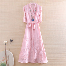 Dress Linen Women High-End Flowers Embroidery M-XXL Chinese-Style Elegant Summer Lady