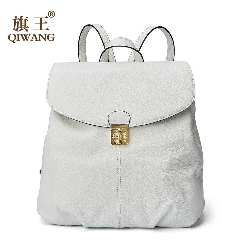 Qiwang 가죽 여성 배낭 학교 부드러운 진짜 가죽 배낭 패션 럭셔리 브랜드 여성 배낭 여성 roomy 어깨 가방-에서백팩부터 수화물 & 가방 의  그룹 1