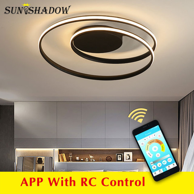 Black & White โมเดิร์นโคมไฟระย้า LED ติดตั้งภายในบ้านโคมไฟเพดาน LED โคมไฟระย้าสำหรับห้องนั่งเล่นห้องนอนห้องครัวห้องนั่งเล่น