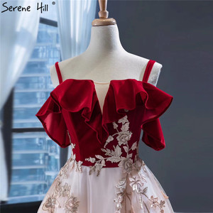 Image 5 - Wine Red Champagne Sleeveless Sexy Evening Dresses Handmade Flowers A Line Evening Gowns 2020 Serene Hill HM66998