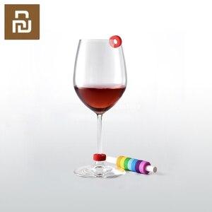 Image 1 - 8 pièces/boîte plus récent cercle joie vin verre Identification anneau rouge vin alimentaire niveau de Contact large gamme de tasses lumière