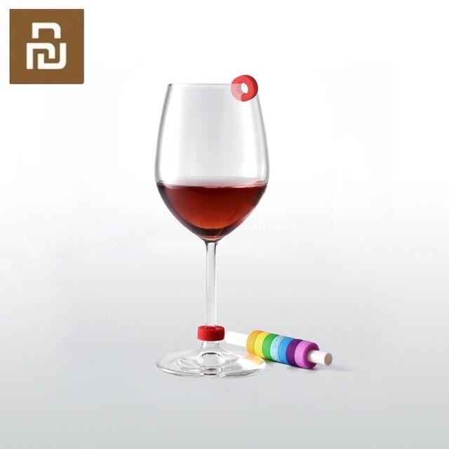 8 pièces/boîte plus récent cercle joie vin verre Identification anneau rouge vin alimentaire niveau de Contact large gamme de tasses lumière