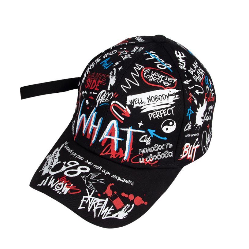 LA 2019 New Unisex Women Men Hats Adjustable Black White Color Printing Graffiti All-matching Baseball Cap For Male Female