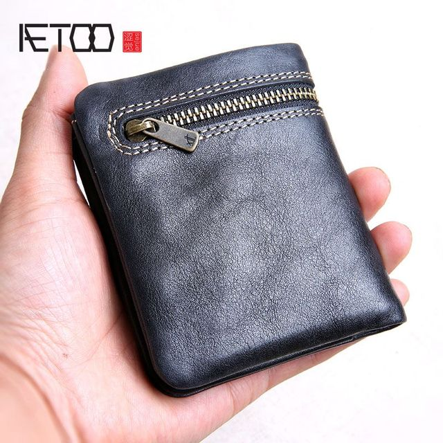 AETOO Mini purse men and women handmade leather ultra-thin soft leather wallet first layer leather wallet short zipper buckle 1