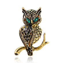 Cross-border special for fashion personality exaggeration, green eyes, owl brooch, animal brooch.
