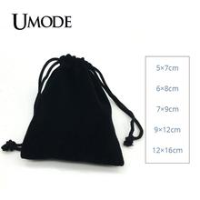 Black Velvet Bags Square Pocuhes 5*7cm 6*8cm 7*9cm 9*12cm 12*16cm for Rings Earrings Necklace Bracelets Jewelry