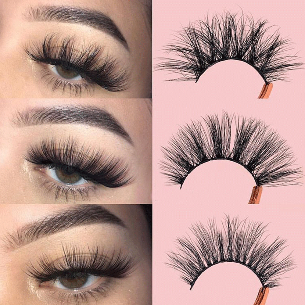 Eyes Dancing 3 Pairs 3D Mink Lashes With Tweezers Natural Cross Fake Eye Lash Long Volume Eyelashes Extension False Eyelash