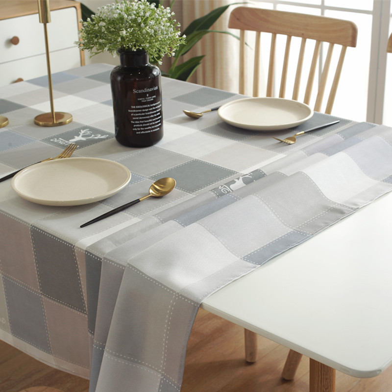 Grey plaid printed Tablecloth Waterproof Table Cloth mantel mesa Dining Table Cover Rectangular mahjong tablecloth home decro()