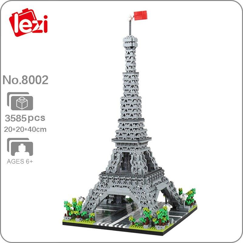 Lezi 8002 мировая архитектура Париж Эйфелева башня 3D модель DIY Мини Алмазные блоки кирпичи игрушки для детей подарок без коробки